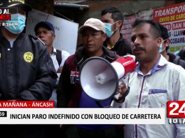 Áncash: comuneros bloquean puente exigiendo rehabilitación de carretera