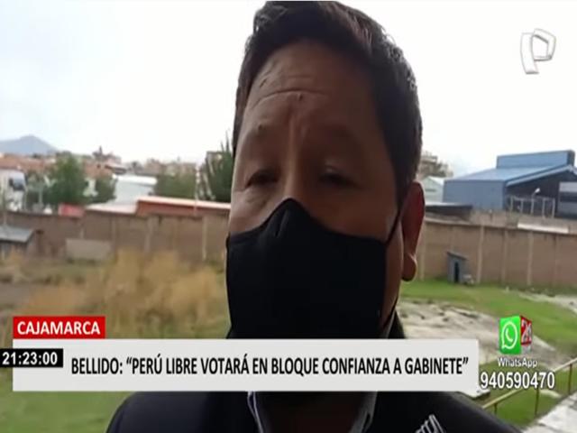 Cajamarca: congresista Guido Bellido anunció votación en bloque de Perú Libre sobre la cuestión de confianza