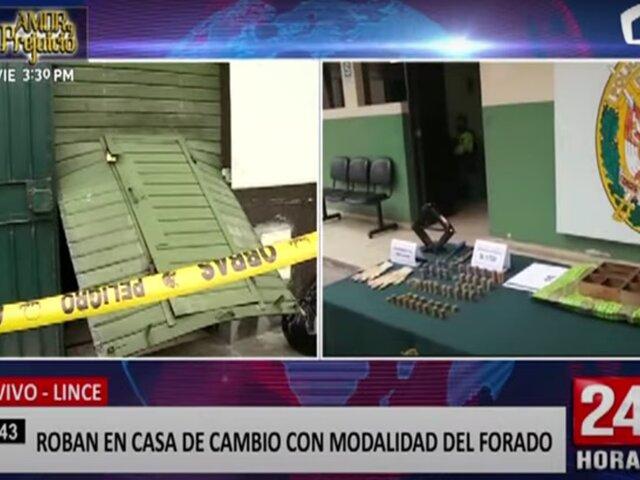 Lince: delincuentes realizan forado para robar casa de cambio pero son capturados por la PNP
