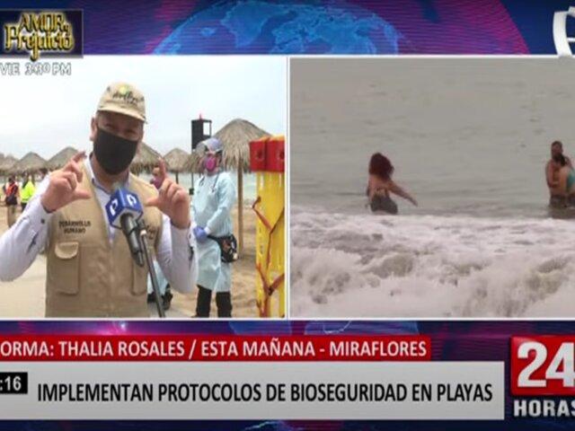 Miraflores: implementan protocolos de bioseguridad en las playas
