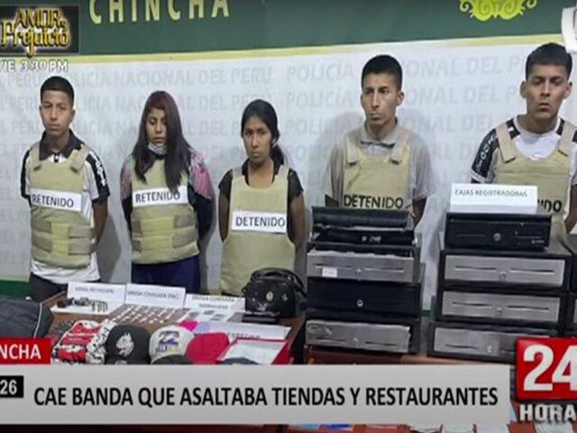 Chincha: policía captura a banda criminal que asaltó varios negocios en la ciudad